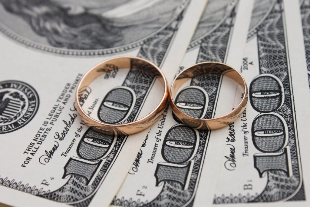 money and wedding rings